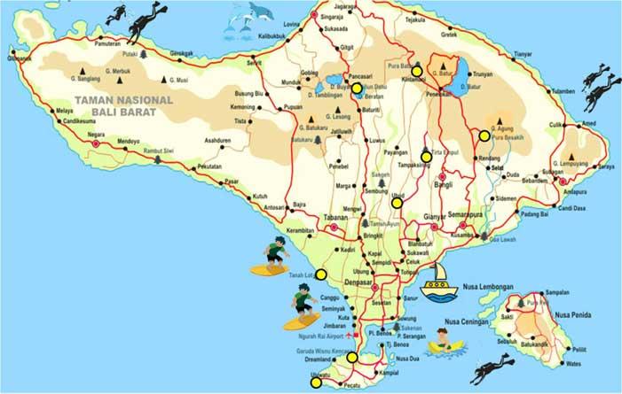 Bali Tourist Map Bali Map Offers Complete Bali Tourism Maps | Indonesia Travel Guides Bali Tourist Map