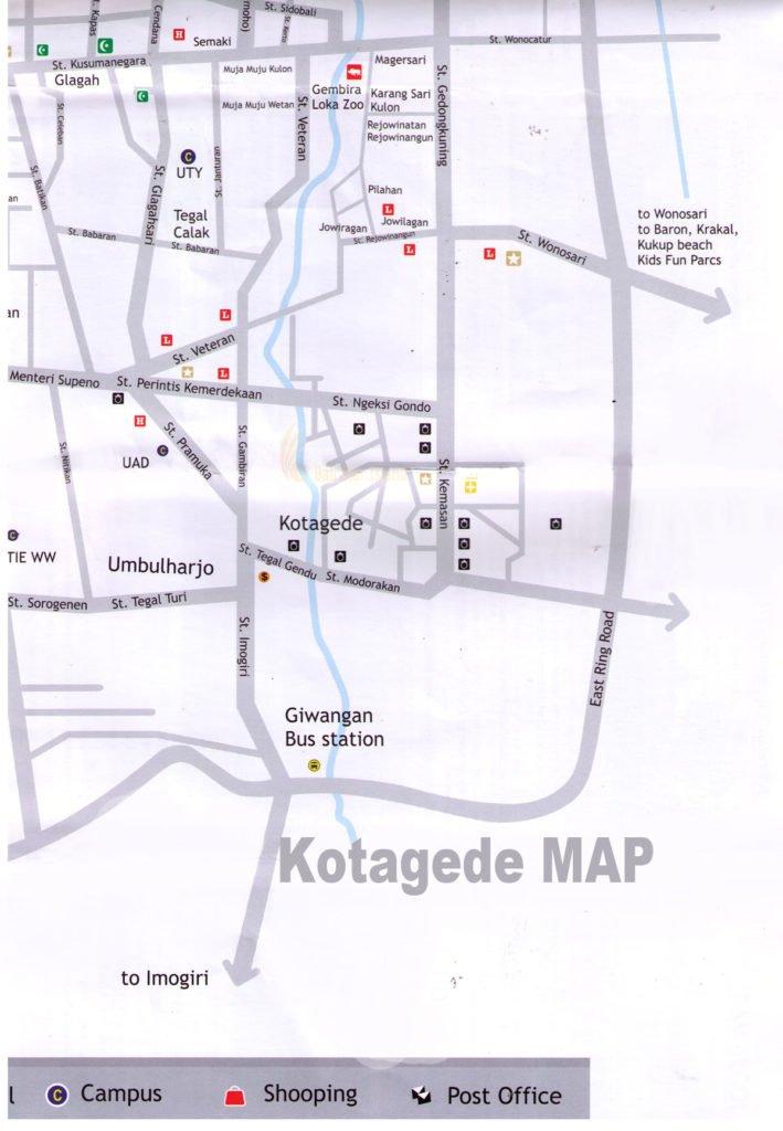 Kotagede Map | Yogyakarta Tourism Maps - Travel Guides