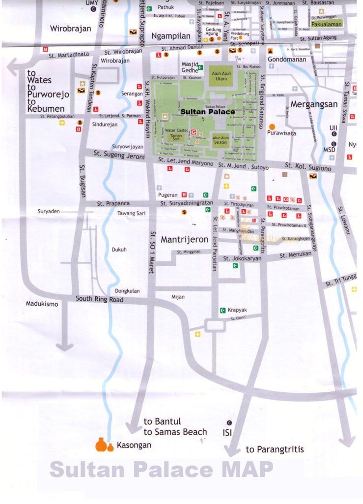 Sultan Palace Yogyakarta Map | Yogyakarta Tourism